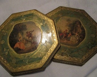 2 STUNNING Antique Italian Florentine Toileware Wooden Pictures Made in Italy