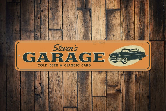 Cold Beer Amp Classic Cars Garage Sign Personalized Car Show