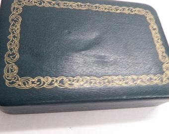 Vintage Retro Green FARRINGTON Jewelry Box Ring Box Travel Case, Genuine Texol