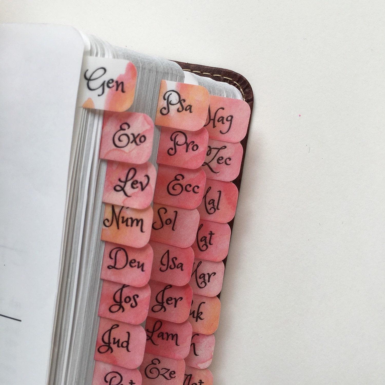 Perfect Chords And Lyrics Pink: Mini Bible Tabs Bold Pink & Orange Watercolor Splash