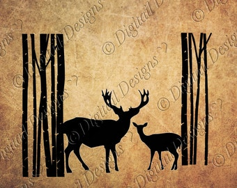 Deer in Trees Svg PNG DXF Eps Fcm Cut file for Silhouette, Cricut, Scan n Cut Love hunting Deer silhouette Forest scene