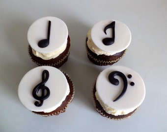 Music Notes Party Black & White Fondant Cupcake Toppers, Edible Music Theme Favors Toppers, set of 12