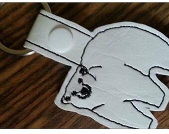 Polar Bear keyfob machine embroidery design suitable for a 4x4 hoop
