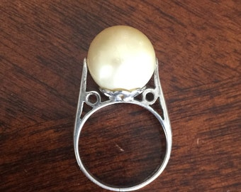 Petite Vintage Natural Pearl Solitaire Ring