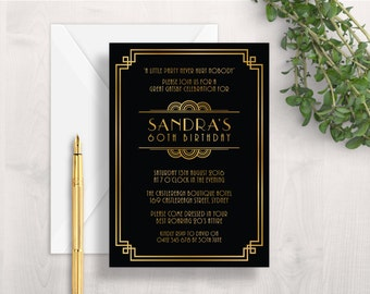1920s Invitation | 20s Invitation | Gatsby Invitation | Art Deco Invitation | Black and Gold Invitation | Printable Invitation