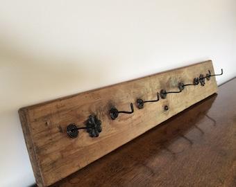 Rustic Wooden Coat Rack with Decorative Metal Hooks