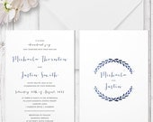 Navy Blue Laurel Wreath Wedding Invitation Suite | Printed on Luxury Double Sided Cardstock | Whimsy Watercolour | Australia Made