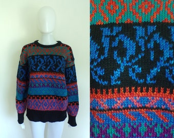 40%OffJune23-26 nordic sweater size medium, chunky knit acrylic colorful tribal baroque sweater 80s womens jumper 1980s striped