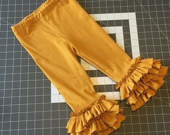Mustard: Lexie Ruffle Leggings, Capris, or shorties