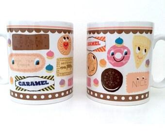 BISCUIT MUG, Digestive, Caramel, Oreo, Bourbon, Custard Cream, Party Rings Mug, Biscuit and Cookies Mug