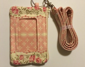 Hand Made Lanyard With ID Holder in Pink and Cream Rose Print With Extra Zipper
