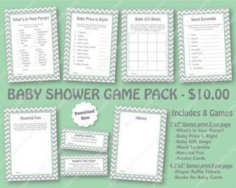Seafoam Gray Baby Shower Game Pack - 70% OFF -PRINTABLE Shower Games- 8 Pack - L Gray Seafoam Chevron Party Mint Green Diaper Raffle Ticket