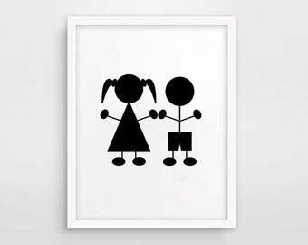 Sibling Wall Art / Black And White Stick Figure Printable / Brother Sister Print / Sister Brother / Twins Print / Room Decor Twins Baby Gift