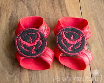 Team Valor Barefoot Baby Sandals, Interchangeable Baby Barefoot Baby Sandals with Team Valor Patches, Pokemon Go Red Team, Nerdy Baby Gift