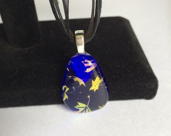 Blue Dichroic Fused Glass Pendant with Gold Leaves