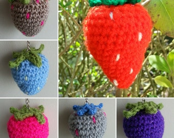 Handmade Crochet Strawberry Coloured Fruit Keyrings (can be personalised too)