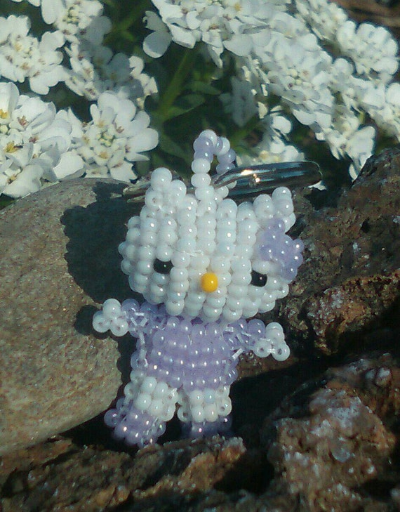 Lavender Kitty Handmade 3D Czech Glass Beaded Keyring-Keychain