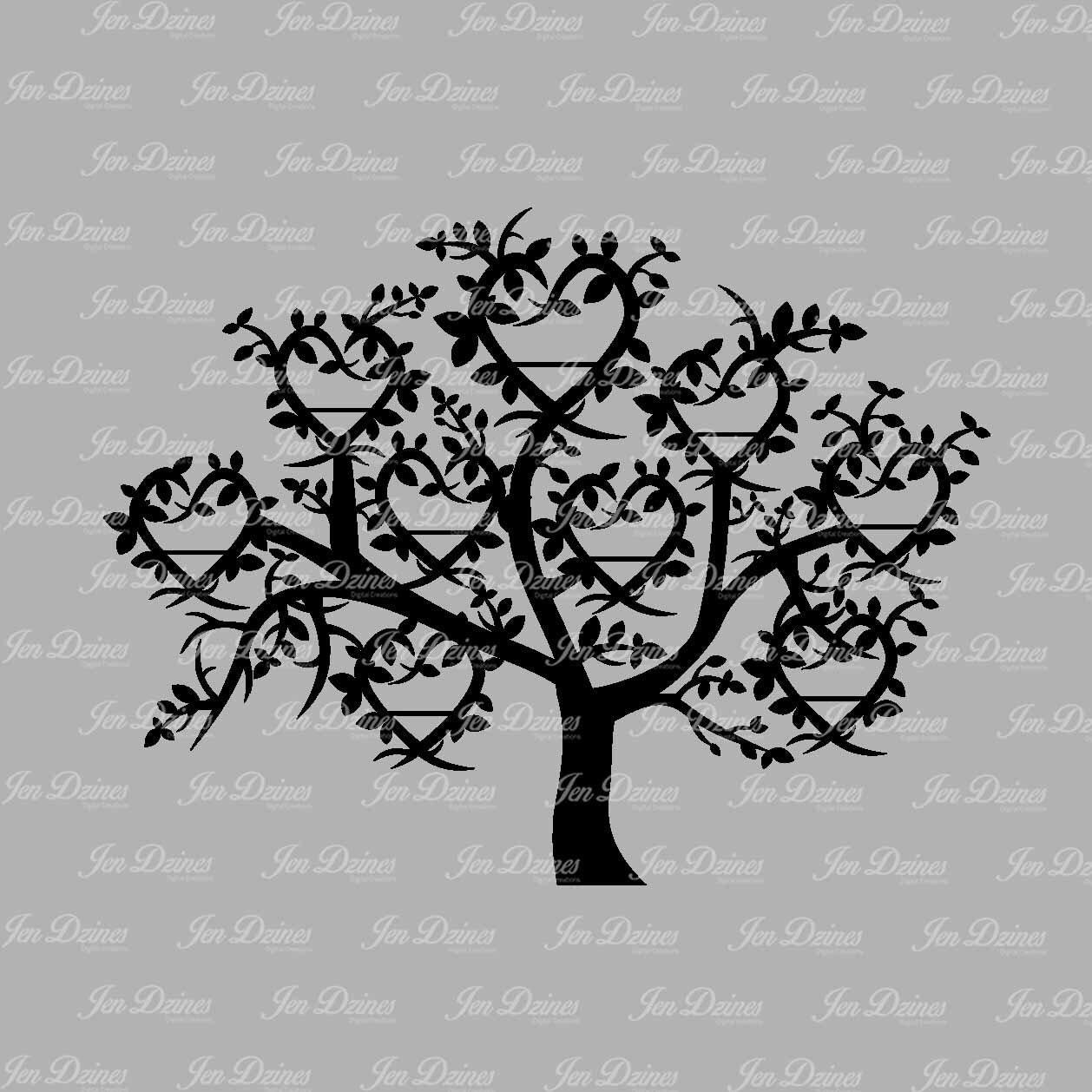 Family Tree 9 Names Svg Dxf Eps Family Tree Files Family