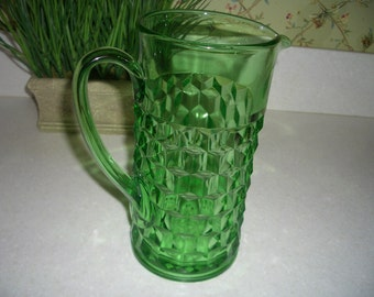 Depression Glass Green Cubist or Cube Pitcher---Jeannette Glass Co.---8.75 Inches---45 Ounces---Hard to Find