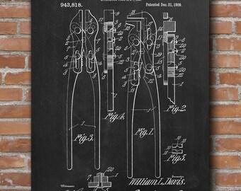Blacksmith Tongs Patent, Blacksmith Tongs Print, Vintage Blacksmith, Garage Decor - DA0477