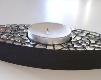 Candle holder with mosaic creation in moiroir - series CLASSY / Candle-holder with mosaic creation CLASSY