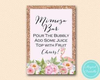 Mimosa Bar Sign, Pink Flamingo Bridal Shower Mimosa Sign, Bubbly Bar, Bridal Shower Sign, Wedding Sign BS130 TLC544