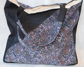Flower Tote Bag, Fabric Grocery Bag, Bog Market Handbag, Denim Tote