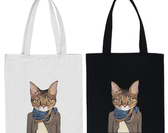 Free Shipping,Back to School Cat Bag,Canvas Tote Bag,Printed Tote Bag,Market Bag,Cotton Tote Bag,Large Canvas Tote,Cat Tote Bag,Animal Bag