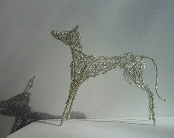 Silver-plated wirework Dog sculpture. Handmade and Original.