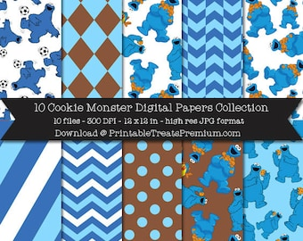 Cookie Monster Digital Paper Pack