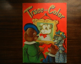 Trace and Color ~ 1951 ~ Oversize Whitman Color Book ~ Illustrated by Eileen Fox Vaughan