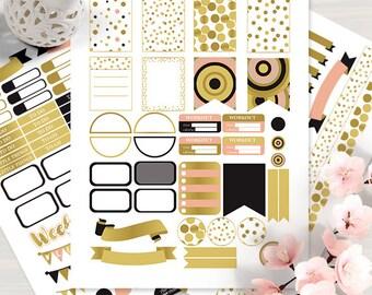 Dot GoldPlanner Stickers for Erin Condren, Printable Planner Stickers, Weekly Stickers, Gold Stickers Kit, Dot Planner Sticker