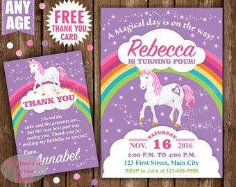 Unicorn Birthday Invitation Purple Invitations Girl Invite Pink Invites Magical Day Printable Rainbow Birthday FREE Thank you card BDU1