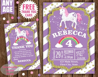 Unicorn Birthday Invitation Purple Invitations Girl Invite Pink Invites Magical Day Printable Rainbow Birthday FREE Thank you card BDU3
