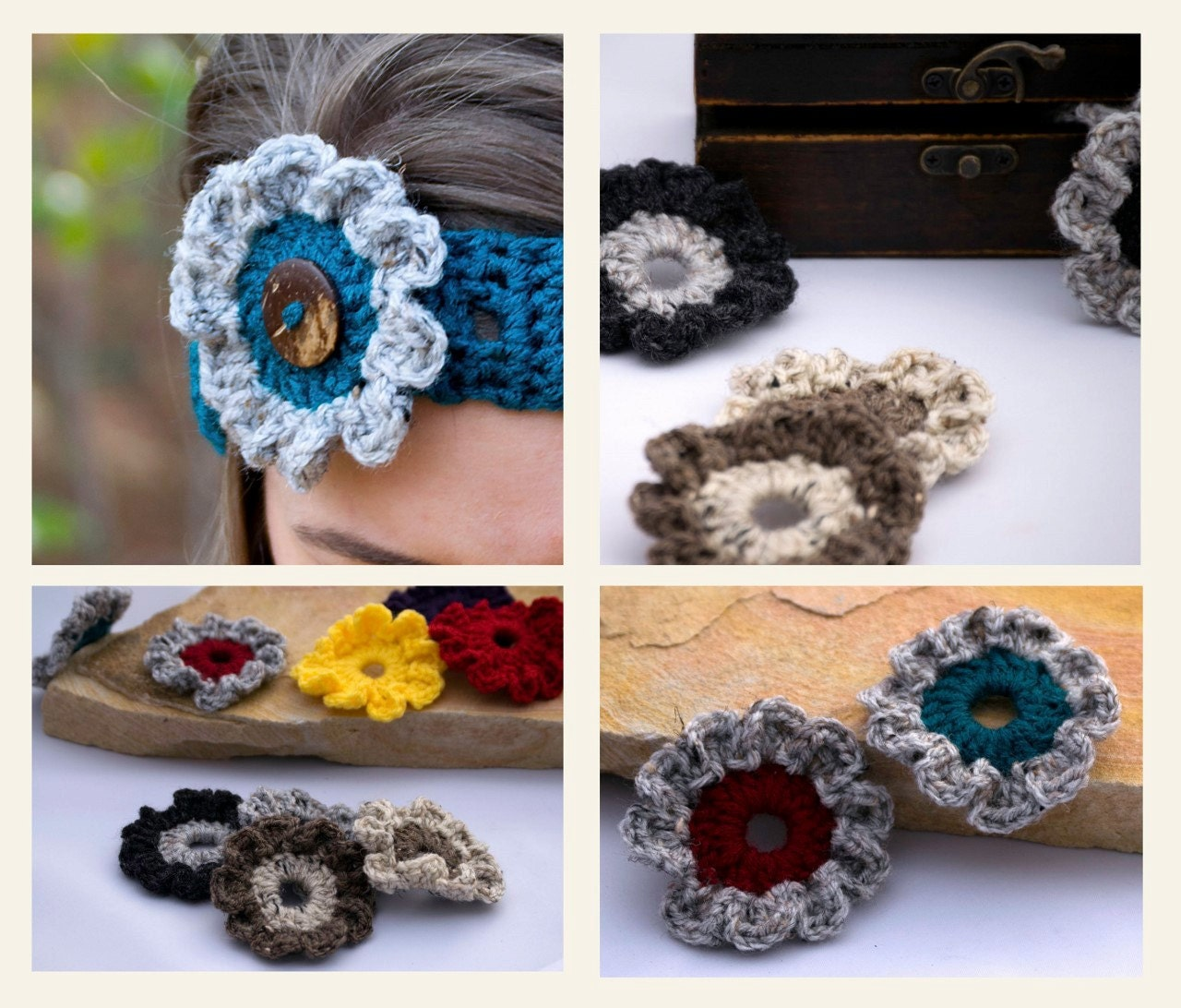 4 crochet flowers 3d craft appliqu s small hat flower for Small flowers for crafts