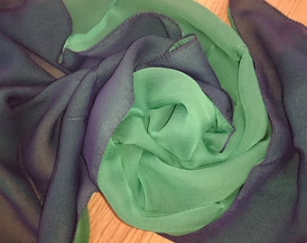 BRIGHT GREEN/BLUE Rare 100% Silk Chiffon Scarf - Doubles (2 Different Colours Hand Sewn Together) Unused and Perfect From 1970s Stock