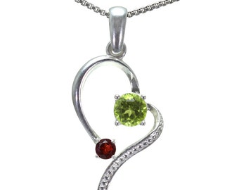 Peridot, Garnet Pendant, 925 Sterling Silver. color green, weight 1.9g, #26386
