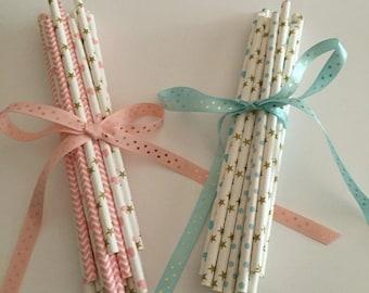 Baby Shower/Girl/Boy Assortment Paper Straws