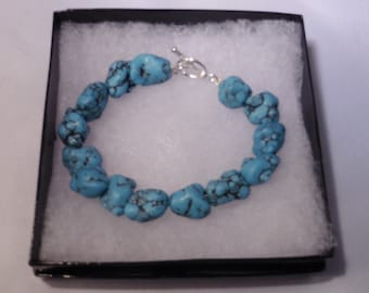 Turquoise Nugget Bracelet with Toggle Closure