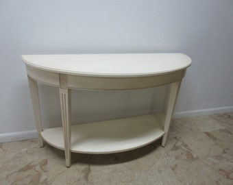Ethan Allen Paint Distressed Demi Lune Barrow Sofa Hall Foyer Table