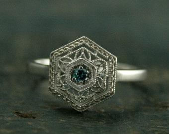 The Frozen Ring--White Gold Blue Diamond Art Deco Ring--Teal Blue Diamond--Snowflake Ring--Art Deco Design--Right Hand Ring--Promise Ring