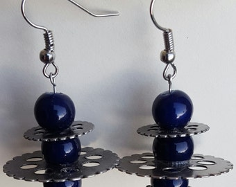 Steampunk Earrings with Gears and Blue Beads