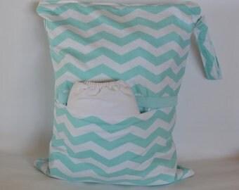 Chevron Wet Bag/ Swimsuit Bag/Cloth Diaper/Nappy bags- Washable & Reusable