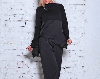 Black Tunic / Casual Top / Loose Fitting Top / Extravagant Top / Asymmetric Tunic / Casual Tunic / Long Sleeve Tunic / Black Plus Size Top
