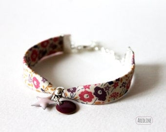 Bracelet liberty pink enameled sequin