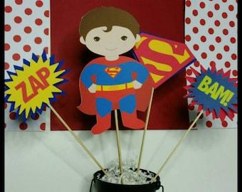 Superman Themed Centerpiece, Superhero Centerpiece, Superhero Cake Toppers