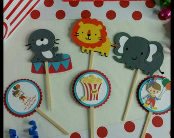 12 Circus/ Carnival themed Cupcake Toppers, County Fair Cupcake Toppers