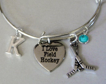 I LOVE FIELD HOCKEY  Bangle Bracelet  W/  Birthstone / Initial Charm Drops / Under Twenty /  Sports Bracelet /  Gift For Her/ Usa H1