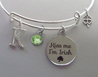 Kiss Me I'm IRISH Charm Bangle W/ INITIAL Birthstone & a 4 Leaf Cover / Bangles / Irish Charm Bracelets Under Twenty / Gift For Her  IR1