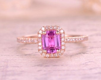 Pink Sapphire Engagement Ring,5x7mm Emerald Cut Pink Sapphire,14K Rose Gold,Diamond Wedding Band,Pink Engagement Ring,Morganite Available